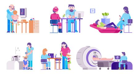 Doctors with patients adults and children healthcare set isolated vector illustrations. Different doctors hospital medical workers therapist, pediatrician, psychotherapist, ophthalmologist.