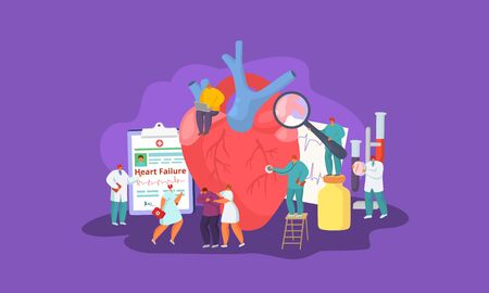 Heart failure, people patient and doctors team, medical help and care vector illustration concept. Man with heart disease. Cardiologists listen, take tests, make diagnose, prescribe pills. Çizim