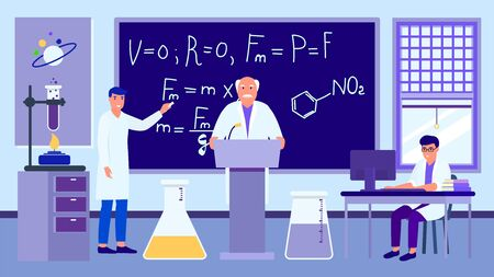 Scientific lecture in physical chemical laboratory vector illustration. Professor teaches students scientists. Learning man writes formulas. Colleague works at computer. Burner, test tubes, books.