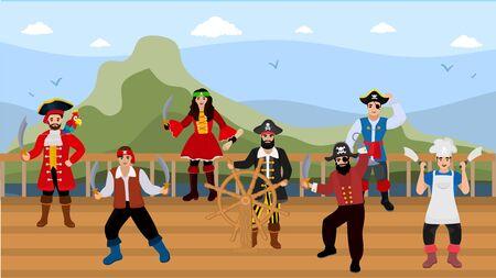 Piratas en la cubierta del barco de madera en la ilustración de vector de viaje por mar. Equipo de gente divertida pirata feliz en disfraces armados con cuchillos. Capitán al timón, cocinera, mujer, cotorra.