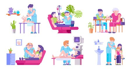 Doctors and visiting patients adults, children in medical clinic vector illustration isolated set. Doctors listening with stethoscope, make injections, ultrasound, pressure control and dropper. Фото со стока - 138290906