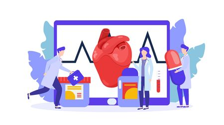Heart treatment by doctors team, drug therapy vector illustration isolated. ardiologists people group with stethoscopes, medicinal pills, first aid kit. Heart rate monitor.