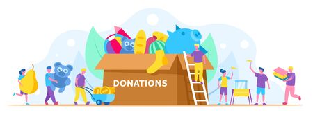 Donation, charity concept vector illustration, people collect different things in huge donation box. Activists volunteers and men, women carrying food, books, toys and money. Illustration
