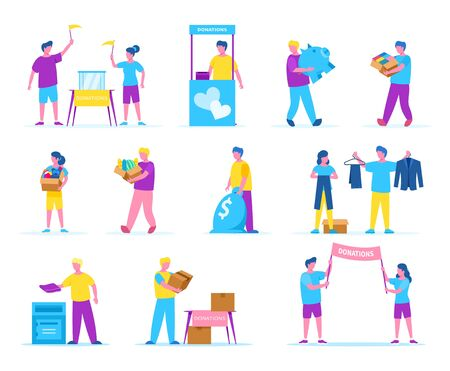 People charity donations vector illustration isolated set. Activists volunteers collect money, clothes, food. Men and women hold, carry boxes with different products for donation. Archivio Fotografico - 138292776