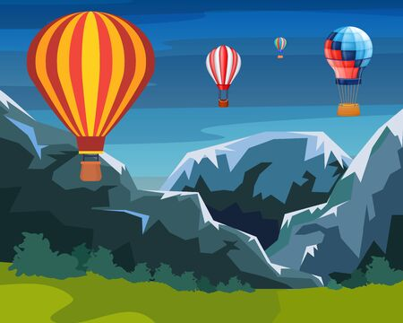 Balloons fly in air over ground, mountains, hills at dawn vector illustration. Tourist travel, entertainment journey, adventure sky trip. Beautiful colorful wallpaper air balloons, natural landscape. Ilustracja