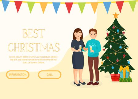 Christmas, New Year holiday celebration advertising invitation landing web page vector illustration. Happy couple stand with champagne near decorated Christmas tree. Online internet site template. Reklamní fotografie - 138472958