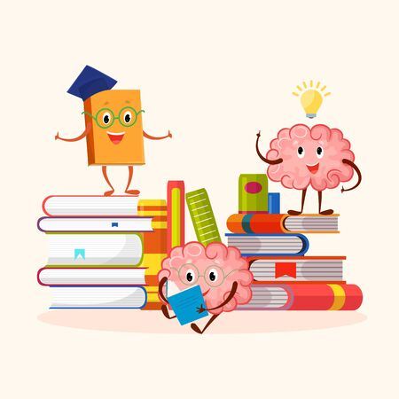 Books and human brain funny characters education and studying concept vector illustration. A smiling book with face stand on stack. Cute cartoon brain read science literature for learning. Illustration