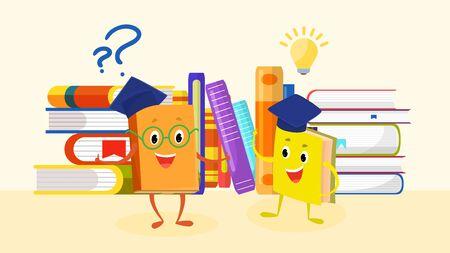 Lecture de livres, apprentissage, étude, éducation concept vector illustration bannière style plat. Heureux personnages de livres de dessins animés mignons drôles avec des questions et des idées. Retour à l'école. Vecteurs