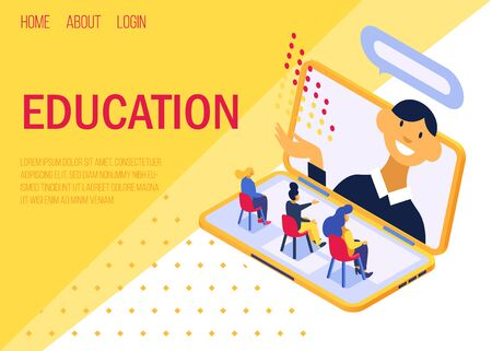 Education online concept, lecture on laptop screen vector illustration internet web landing site page isometric. Positive teacher communicates with studying women listeners remotely.