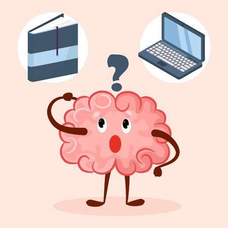 Brain cute cartoon character choose laptop or book education method vector illustration. Brain thinks about reading literature, learning, knowledges and studying. Way to get information concept. Illustration