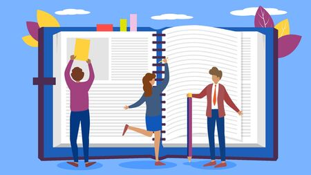 Notebook and people education with teacher in college, university vector illustration. Back to school. Man, woman learning, studying, reading and writing in open huge book.