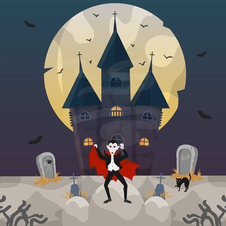 Count Dracula at castle on Halloween night celebration vector illustration. Cemetery with tombstones and grave crosses in darkness, flying bats, spider, black cat and moon. 向量圖像
