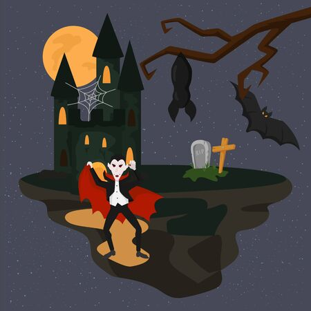 Horrible scary Dracula vampire on Halloween dark night vector illustration. Castle mansion of Dracula, grave with tombstone and cross, bats, spiderweb, moon, tree. Halloween holiday celebration. 向量圖像