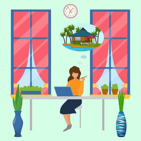 Working woman sitting in office with laptop dreaming about beach relax vacation in sea resort vector illustration. Girl dreaming about travel to ocean and summer bungalow. Ilustração