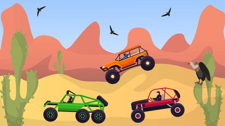 Racing rally cars off road in desert vector illustration. Group of drivers in SUVs vehicles at extreme hilly rocky terrain auto racing transportation. Western landscape, vulture birds, cactus. Illustration