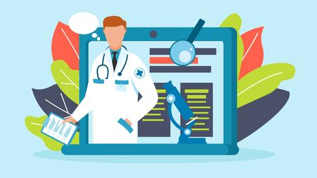 Online doctor medical consultation vector illustration. Male doctor with stethoscope on laptop screen treats patients remotely over internet online. Computer screen, microscope, magnifier.