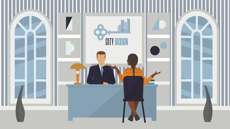 Job recruitment interview in office, people employer and candidate vector illustration. Job interview meeting, conversation for professional work and career in business company.