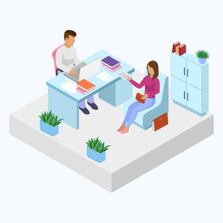 Interview employer with job seeker vector illustration isometry. Company head boss or personnel manager man and job applicant candidate for vacant position. People talking sitting at office work desk.