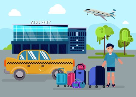 Boy with luggage stands next to taxi yellow car in front of airport building facade vector illustration. Transportation and travel. Happy guy with suitcases on vacation trip by airplane.