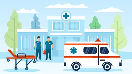 Ambulance car, doctors, hospital wheel bad, building vector illustration. Man, women physicians in uniform, surgical gloves standing with first aid kit. Healthcare, medical treatment, transportation.