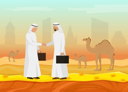 Arab businessmen sheikhs shake hands making deal vector illustration. Desert, herd of camels, urban buildings. Muslim men business partners meeting, conclusion of contract.