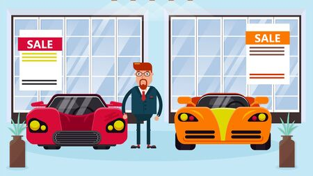 Car salesman manager stands between two different cars for demonstration and sale in showroom vector illustration banner. Automobiles dealership male representative sells cars.