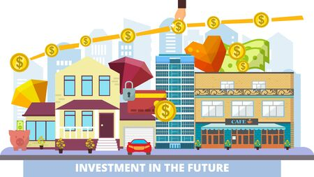 Investment business in property, real estate with growing price in future vector illustration. Money financial investing in commercial building, houses with profit. Investment chart with dollar coins. 일러스트