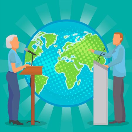 Dispute meeting of two people politicians, public or business figures about planet earth ecology nature vector illustration. Man and woman candidate opponents ecological environmental problems debate.