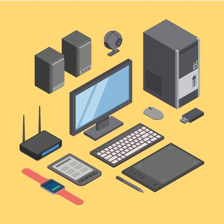 Computer hardware, modern digital equipment home and office technique vector illustration isometric. Desktop electronic devices elements pc, monitor, tablet, keyboard, mouse, usb, router, speakers. Ilustracja