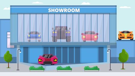 Showroom cars for sale vector illustration. Front facade of modern building with different autos exhibition inside. Car dealership showroom for demonstration and vehicles trading.