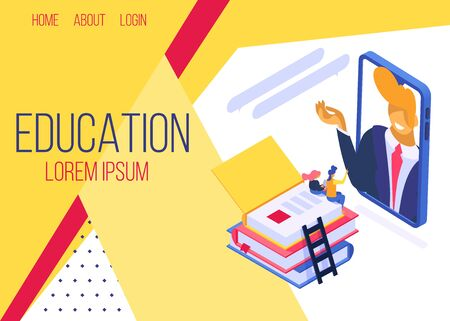 Bildung online, Lernklasse mit Handy-Vektor-Illustration-Internet-Web-Landing-Site-Seite isometrisch. Männlicher Lehrer kommuniziert aus der Ferne mit studierenden Zuhörern.