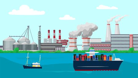 Vessels container ship sail past factory buildings vector illustration. Smoking industrial chimney pipes pollute environment with toxic fumes emissions. Plants, cargo transportation, boat building.