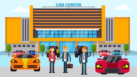 Car center vector illustration, different cars and people seller and buyers. Male autos dealership showroom manager and customer shake hands on sale purchase transaction. Illustration