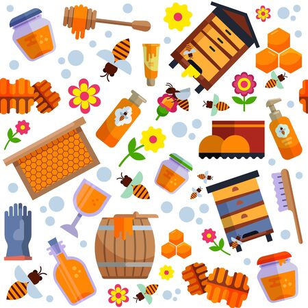 Apiary honey farm production seamless pattern vector illustration. Bee, honeycomb, hive, natural healthy sweet food products set collection background flat isolated. 免版税图像 - 138794843