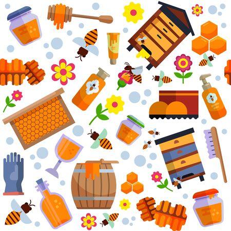 Illustration vectorielle de modèle sans couture de production agricole de miel de rucher. Abeille, nid d'abeille, ruche, produits alimentaires sucrés sains naturels mis en arrière-plan de la collection plat isolé.