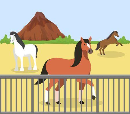 Pferde im Freien hinter Zaun auf Manege im Hippodrom, Ranch, Farm stabile Vektorgrafik. Reinrassige Rennpferde Haustierhaltung Natur Berg Felslandschaft.