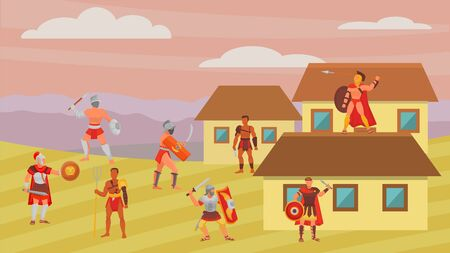 Group of gladiators warriors fighters in armor battle vector illustration flat. Greek roman ancient historical character man weapons. Cold steel arms, shields. Greece or Rome. Illustration