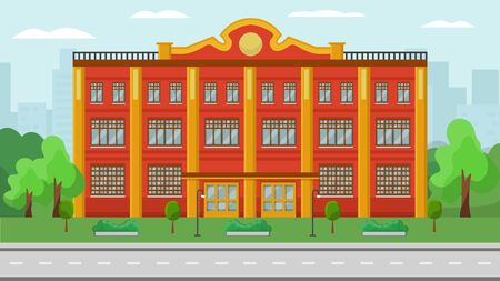 Administrative building front exterior vector illustration. Federal municipal city government state or different official structure department house facade. Trees, greenery, buildings background.
