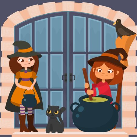 Halloween holiday celebration vector illustration. Two young smiling funny woman little girl witches with black cat, crow, cauldron and broom make brew potion at gate door. Halloween night. Illustration