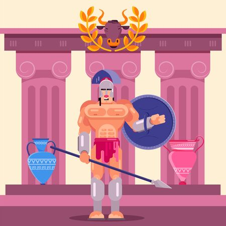 Gladiator warrior fighter in armor with shield vector illustration flat. Greek roman historical character man weapons. Ancient Greece or Rome. Temple colonne ruin, amphoras. Çizim