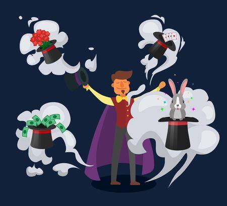 Illusionista dell'uomo del mago del mago sull'illustrazione di vettore di spettacolo di fantasia di prestazioni di trucchi da circo. Cappello strumento magico con coniglio, carte, soldi, fiori. Mistero magico divertimento da favola divertente.
