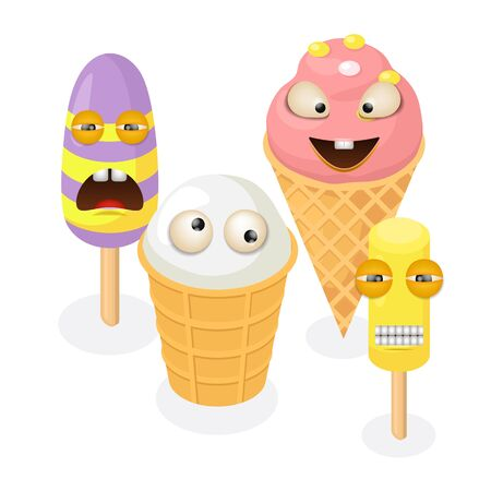 Cute funny ice cream characters vector illustration isolated. Various colorful ice cream cone waffle on steak. Frozen sweet food dessert vanilla fruits berries flavor.