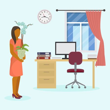 Girl holding pot with flower at new job office workplace interior vector illustration. Young woman moving relocation to new office room with computer, desk, chair, window.
