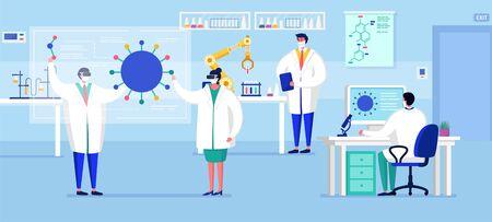 Laboratorio coronavirus vacuna antiviral biología investigación antivirus médicos ilustración vectorial. Científicos en laboratorio, investigadores químicos con equipo de laboratorio.