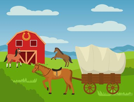 Horses at country animal ranch farm, horse harnessed to cart wagon carriage vector illustration. Barn house, rural nature outdoor agricultural horse breeding farming grass field landscape.