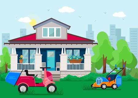 Lawn mowers stand on grass in yard front of beautiful private house vector illustration flat. Motorcycle and electric two lawn mowers machine garden care household equipment.