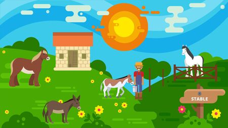 Horse stable and pasture land vector illustration flat style. Horse breeder farmer worker man at animal husbandry. Varicolored cartoon horses walking outdoor and eating grass on meadow. Archivio Fotografico - 138689734