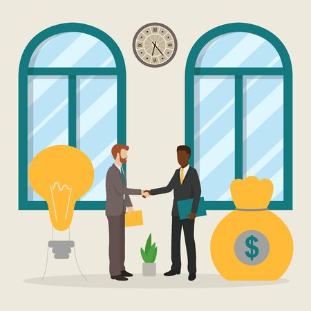 Business people investment idea startup deal concept vector illustration. Businessmen, money investor, financial partnership work strategy. Contract agreement with handshake.