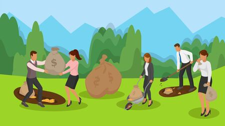 Banking, financial business, growing income, money savings concept vector illustration. Business people team dig money out of ground with shovel, carry bags of coins on wheelbarrow. Ilustrace