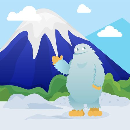 Abominable snowman stands on snowy mountain peak background vector illustration flat style. Friendly cute yeti character welcome greeting gesture. Bigfoot in winter highlands.